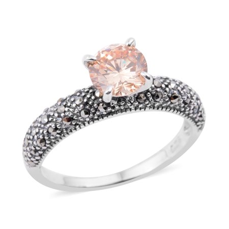 925 Sterling Silver Round Cubic Zircon Champagne Marcasite Ring Size 7 Cttw 0.8 ()