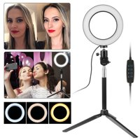 """Ring Light with Stand, EEEKit 6"""" 3 Color Modes LED Ring Fill Light Kit with Self-Monopod & Table Mini Tripod for Makeup, Camera/Smart Phone Video Shooting, Photography Lighting"""