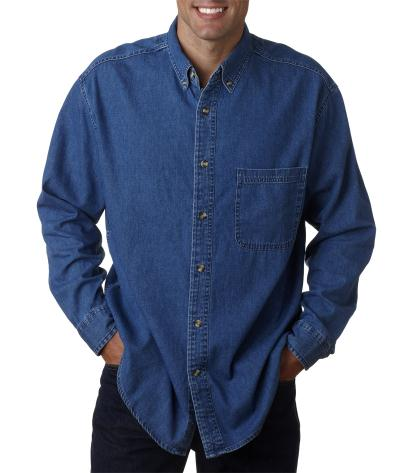 Ultraclub-Mens Tall Cypress Denim Shirt With Pocket-8960T