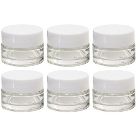 - Clear Glass 0.25 oz Thick Wall Balm Jars with White Foam Lined Smooth Lids (6 pack)