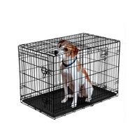"""Vibrant Life Double-Door Folding Dog Crate with Divider, 22"""""""