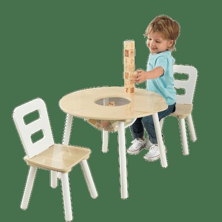 KidKraft KidKraft Wooden Round Table & 2 Chair Set with Center Mesh Storage - Natural & White