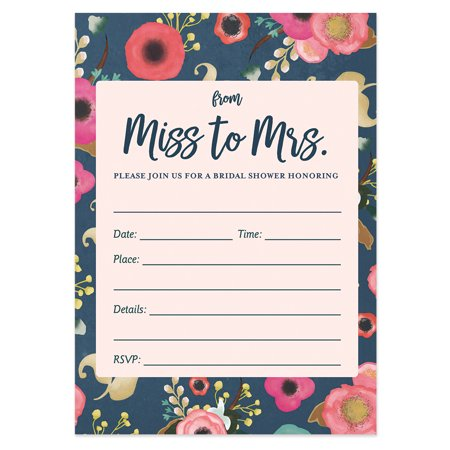 25 Navy Floral Bridal Shower Invitations with Envelopes ( Pack of 25 ) From Miss to Mrs Fill In Boho Wedding, Engagement Excellent Value Invites by Digibuddha VI0044B