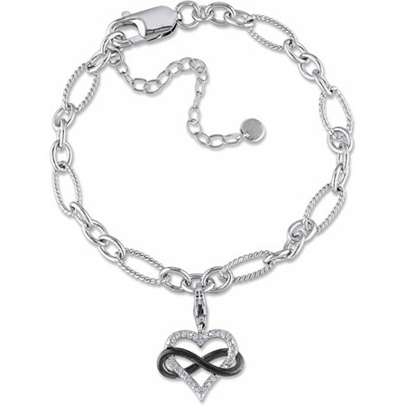 - Miabella Diamond Accent Two-Tone Sterling Silver Infinity Heart Charm Bracelet, 7