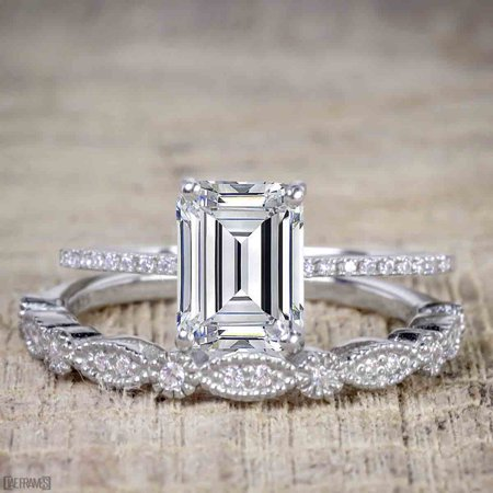 Artdeco 1.25 Carat emerald cut Moissanite and Diamond Wedding Bridal Ring Set in White Gold