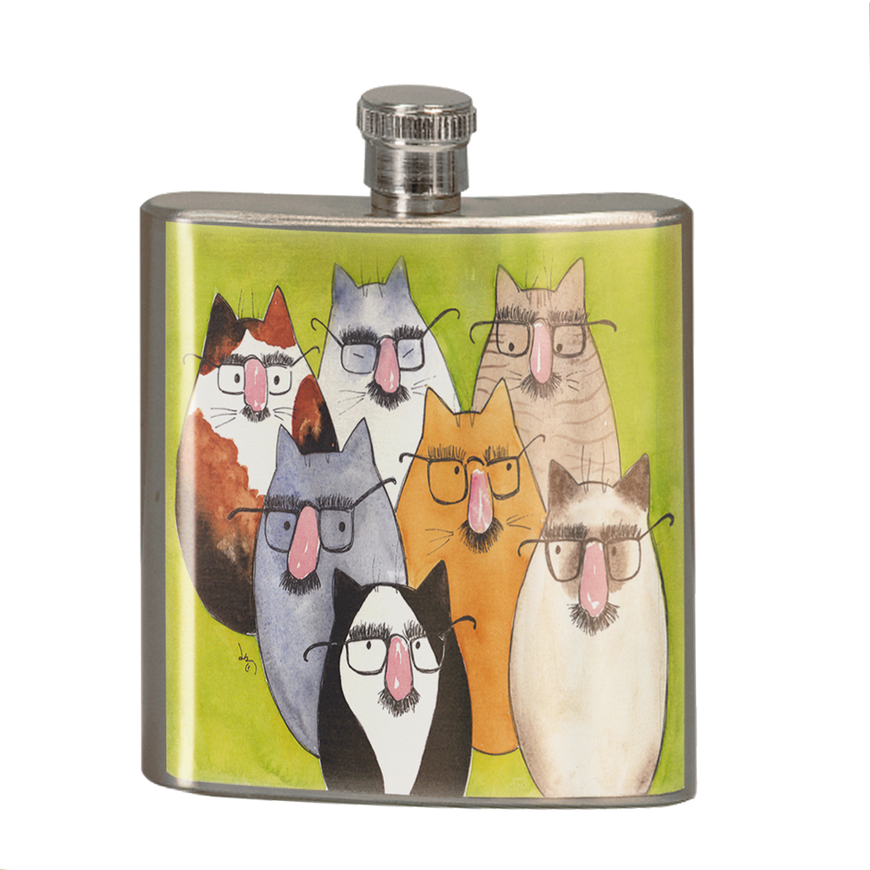 KuzmarK 6 oz. Stainless Steel Pocket Hip Liquor Flask - Seven Incognito Kitties Abstract Cat Art by Denise Every