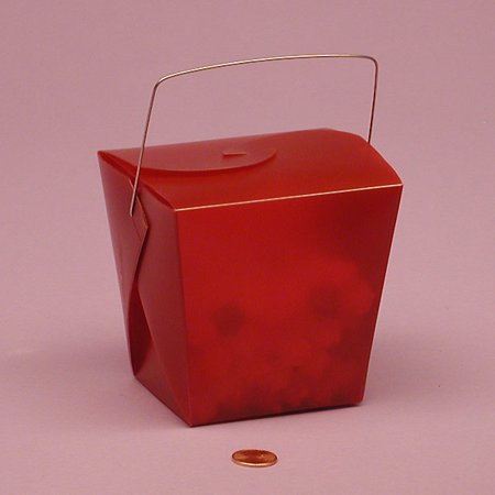 Burgundy Red Frosted 4 x 3-1/2 x 4 inches Plastic Wire Handle Chinese take Out Favor Boxes, 12 pack](Halloween Chinese Take Out Boxes)