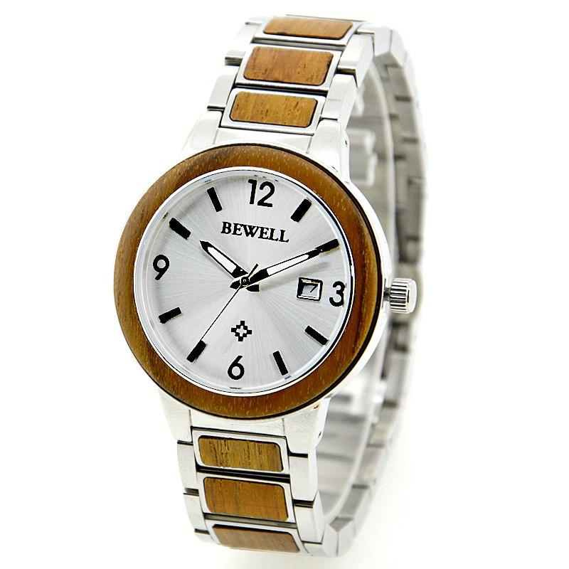 Bewell Stainless Steel Koa Wood Watch With Invisible Clasp