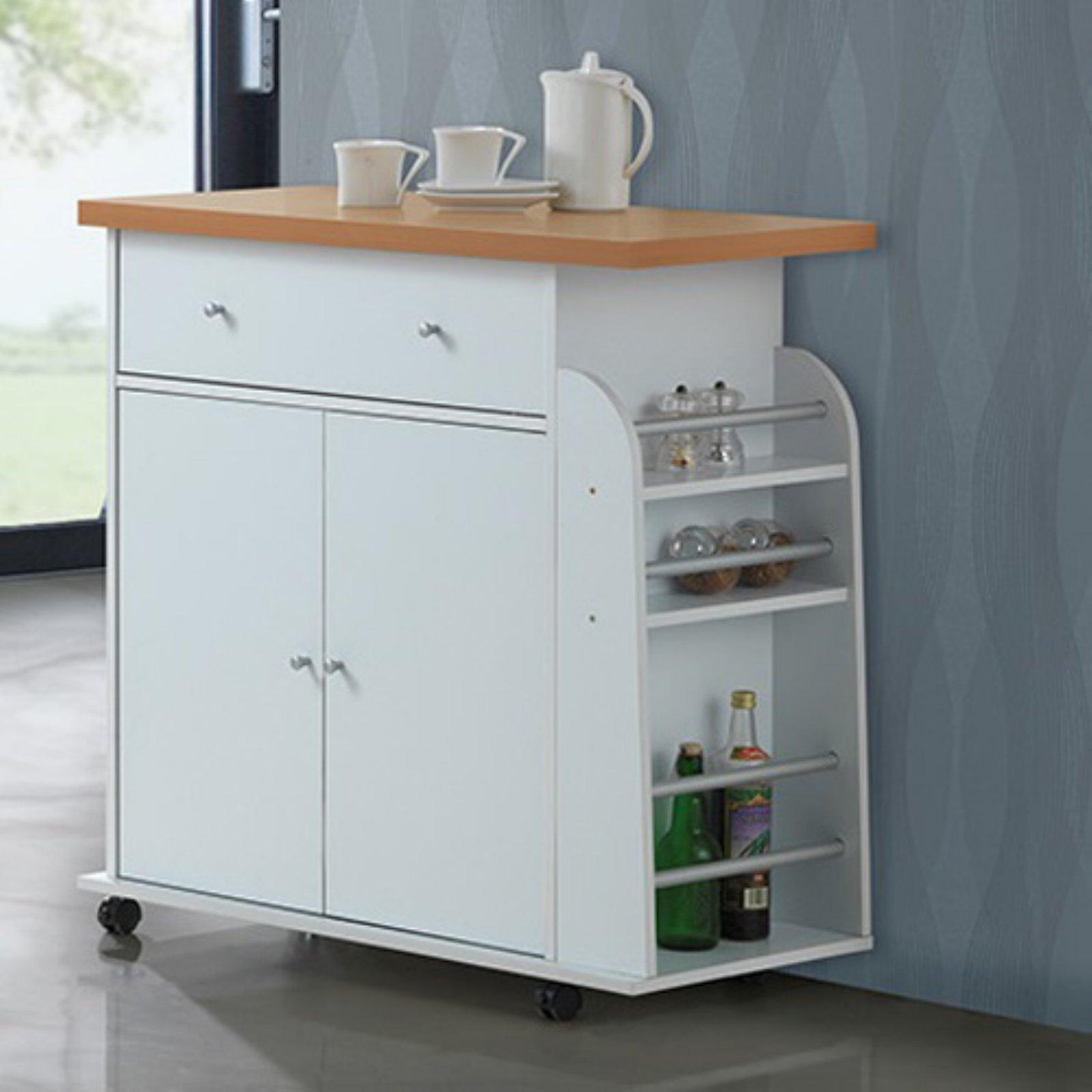 Hodedah Portable Kitchen Cart with Spice Rack