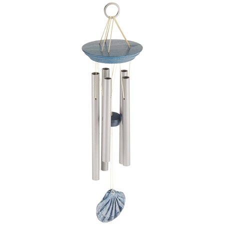 (Scallop Seashore Chime- Décor Designs Collection, Wind chime with 5 satin silver aluminum tubes and blue-washed lighthouse wind catcher By Woodstock from USA)