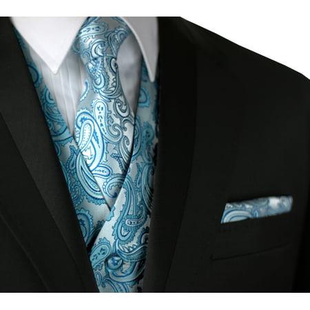 Italian Design, Men's Formal Tuxedo Vest, Tie & Hankie Set for Prom, Wedding, Cruise in Teal Paisley](Male Stripper Tuxedo)