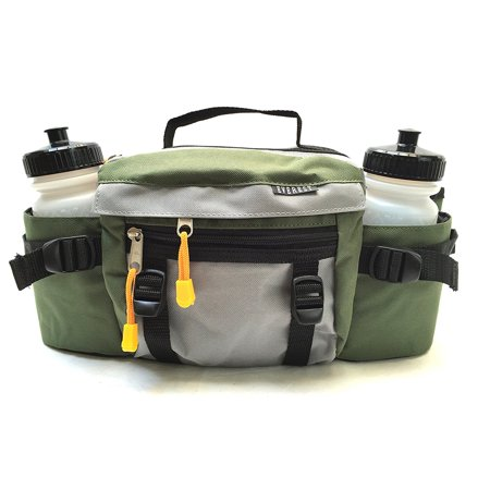 Premium Fanny Waist Lumbar Pack with Water Bottle Holder Hiking Climbing Walking Outdoors by Everest, Includes 2 Everest Squeeze Bottles (Green) ()