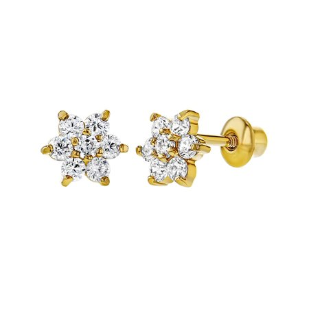 (18k Gold Plated Clear Crystal Flower Toddler Baby Girls Screw Back Earrings)