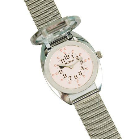 Ladies Braille Watch-Chrome-Steel Mesh Band-Pink Dial