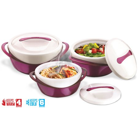 Pinnacle Casserole Dish - Large Soup and Salad Bowl Set - Insulated Serving Bowl With Lid - 3 Pc. Set Purple