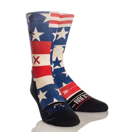 Rock 'Em Elite AMERICANA - USA Stars and Stripes Flag Crew Socks Rock Star Crew Socks