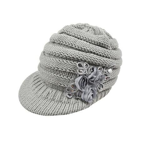 Womens Wool Knitted Crochet Visor Sequins Flower Winter Warm Beanie Caps Hat Womens Visor Beanie