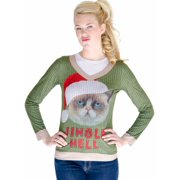 Faux Real Womens Jingle Hell Angry Kitty Cat Ugly Christmas Sweater T-Shirt