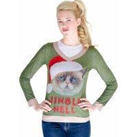 c9ba4312a2a68 Product Image Faux Real Womens Jingle Hell Angry Kitty Cat Ugly Christmas  Sweater T-Shirt