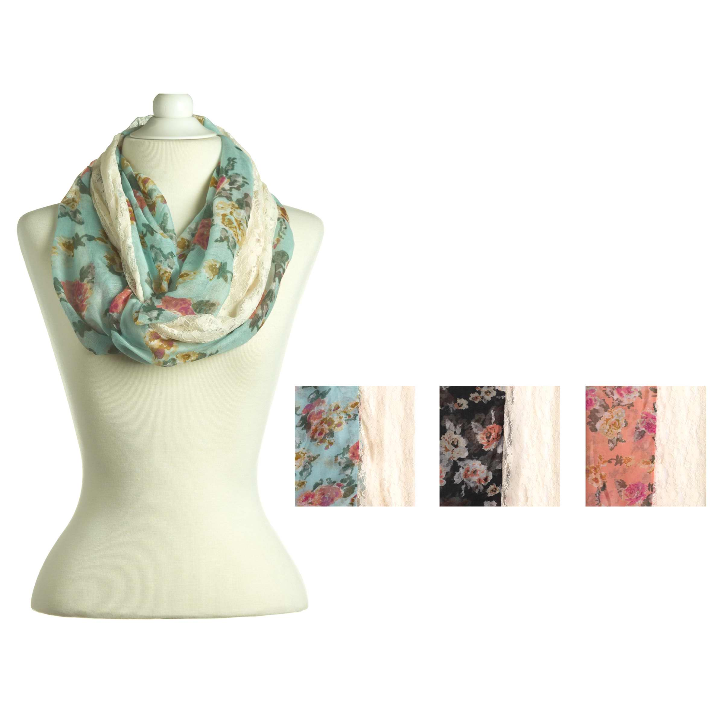 "Image of Scarf-Infinity-Floral Print & Lace-Black (11"" x 35"")"