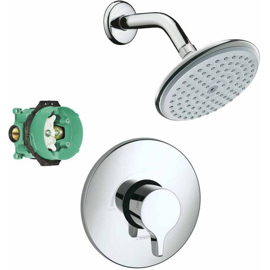 Hansgrohe KS04355-04343PC Raindance E 150 1-Jet Showerhead 2.0GPM Kit with PBV Trim and Rough-In, Various Colors