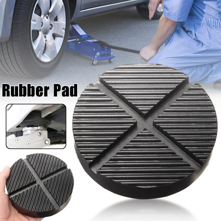 Black Rubber Car Truck Cross Slotted Frame Rail Auto Lift Floor Jack Disk Pad Adapter