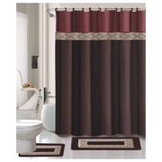 15pc CHOCOLATE DYNASTY Bathroom Set Printed Banded Rubber Backing Rug Bath Mats With Fabric Shower Curtain and Fabric-Covered Shower Hooks