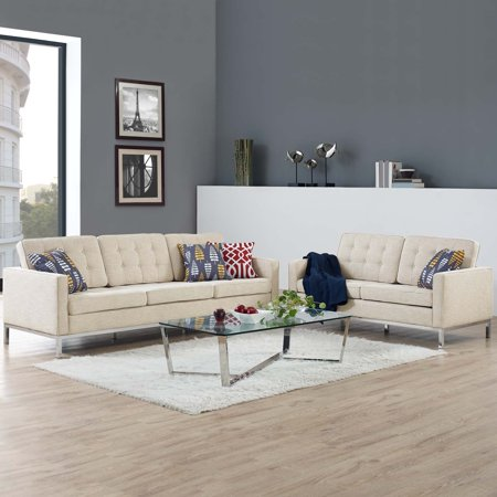 2 Piece Fabric Loveseat - Modway Loft 2 Piece Upholstered Fabric Sofa and Loveseat Set, Multiple Colors