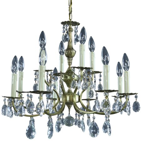 Chandelier Vintage French 1950 Rococo 12-Light Glass Crystals, Brass Tone Metal