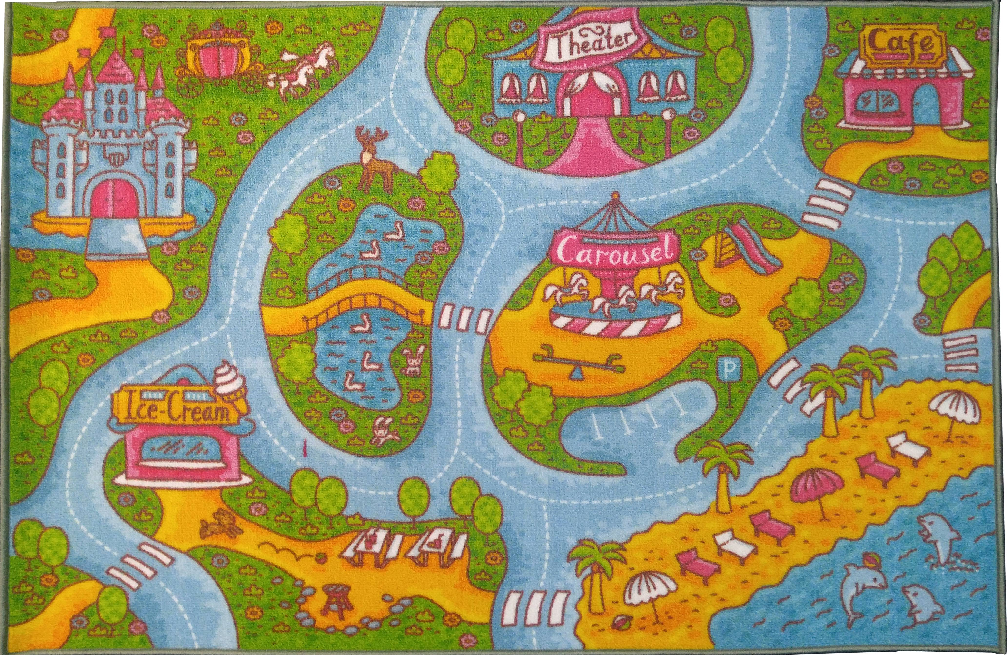 KC Cubs Playtime Collection Girls Road Map Multicolor Polypropylene  Educational Area Rug (5u00270