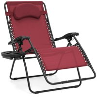 Best Choice Products Oversized Zero Gravity Outdoor Reclining Lounge Patio Chair w/ Cup Holder - Burgundy