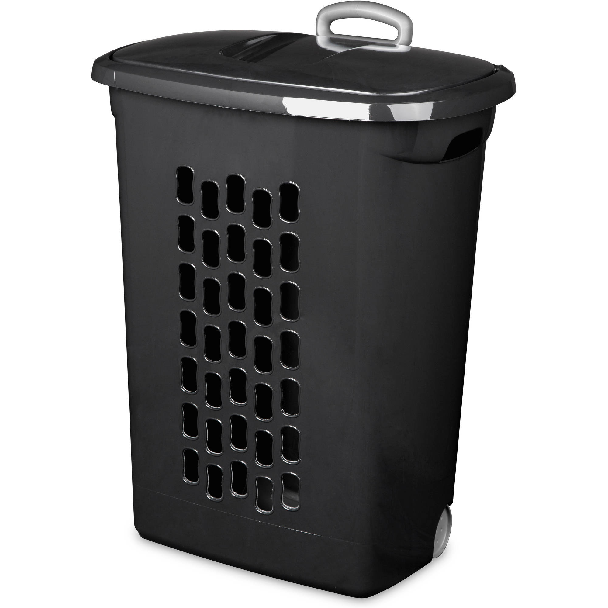 Sterilite Wheeled Laundry Hamper- Black (Available in Case of 3 or Single Unit)
