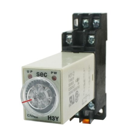 H3Y-2  110V DPDT 0-60 Seconds 60S Power on Delay Timer Time Relay w Base