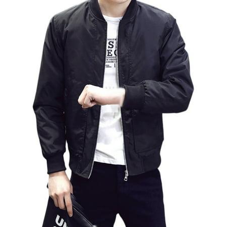 Men's Jackets Solid Fashion Coats Male Casual Slim Stand Collar Bomber Jacket Men Outerdoor Overcoat ()