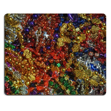 POPCreation made up of mulit colored including gold purple blue green and pink mardi gras beads Mouse pads Gaming Mouse Pad 9.84x7.87 inches