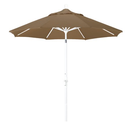 Eclipse Collection 9 Aluminum Market Umbrella Collar Tilt - Matted White/Olefin/Champagne