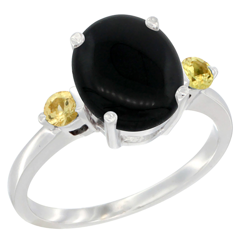 10K White Gold Natural Black Onyx Ring Oval 10x8mm Yellow Sapphire Accent, sizes 5 - 10