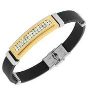 Stainless Steel Black Rubber Silicone Two-Tone White CZ Men's Bracelet