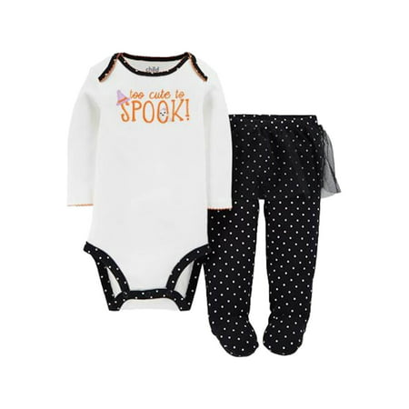 Carters Infant Girl 2 PC Too Cute To Spook Halloween Bodysuit Tutu Leggings