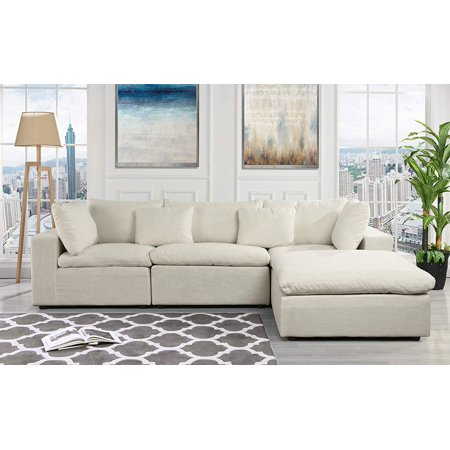 Classic Large Linen Fabric Sectional Sofa, L Shape Couch ...