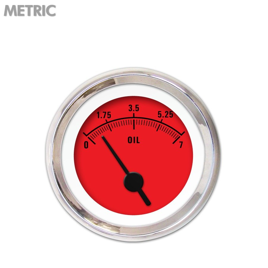 Oil Pressure Gauge - Metric Rider Red , Black Vintage Needles, Chrome Trim amc