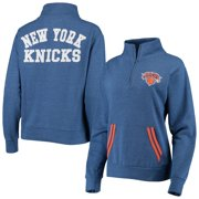 New York Knicks New Era Women's Striped Trim Tri-Blend Half-Zip Pullover Jacket - Blue