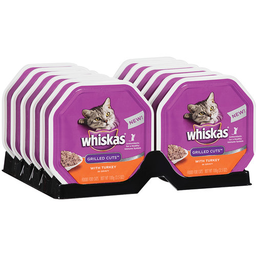 Whiskas Grilled Cuts with Turkey Cat Food in Gravy, 12ct