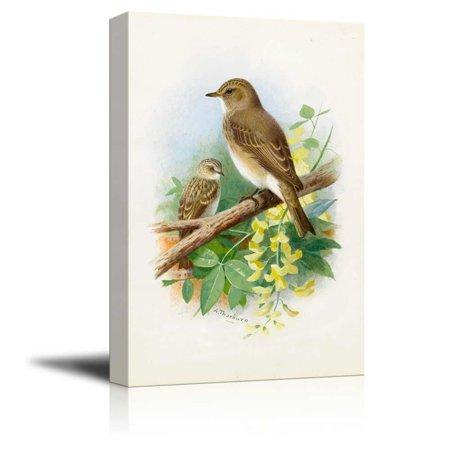 Pierced Tree - wall26 Illustration of 2 Birds Perched onto a Tree Branch - Canvas Art Home Decor - 24x36 inches