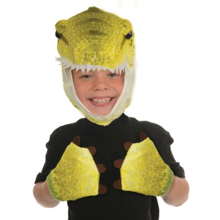 Packs Tavern Halloween (Unisex Child Green T-Rex Animal Pack Hood & Mitts Halloween Costume)
