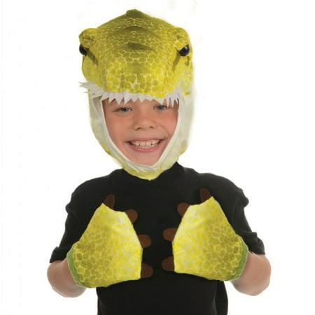 Unisex Child Green T-Rex Animal Pack Hood & Mitts Halloween Costume Accessories](Animals On Halloween)