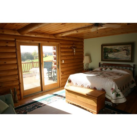 LAMINATED POSTER Bedroom Cabin Log Home Bed Master Bedroom Logs Poster Print 11 x 17 Log Cabin Decor