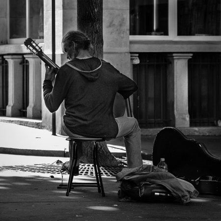 Canvas Print Paris Guitarist Street Musician Street Character Stretched Canvas 10 x