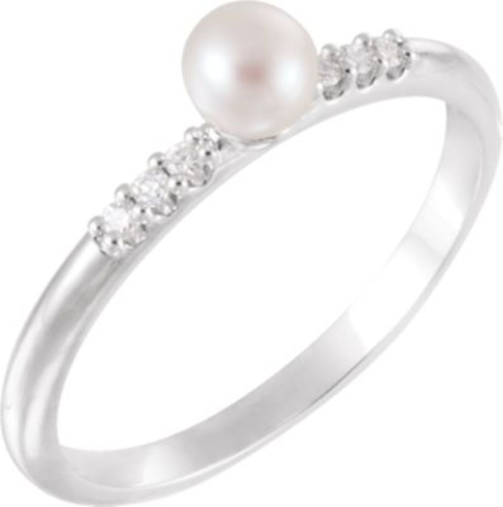 Platinum Freshwater Cultured Pearl & .05 CTW Diamond Ring Size 7 by Bonyak Jewelry