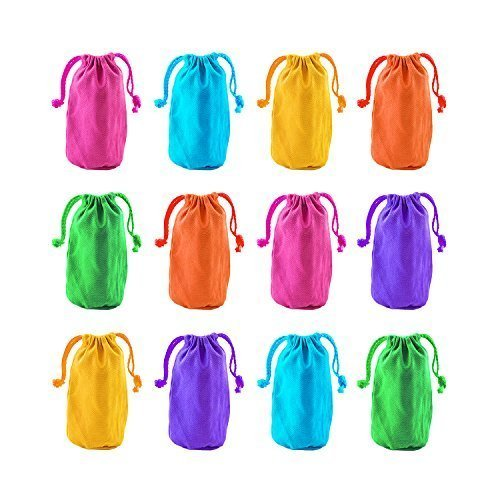 Neon Canvas Bags with Drawstring Closure, 7 x 4.5-Inch (12 Bags) by Super Z Outlet